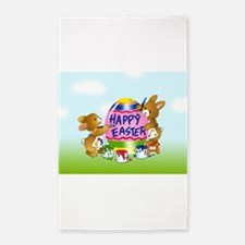 Bunnies Painting Easter Egg Area Rug