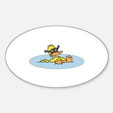 Swimming Ducky With Shades Oval Decal