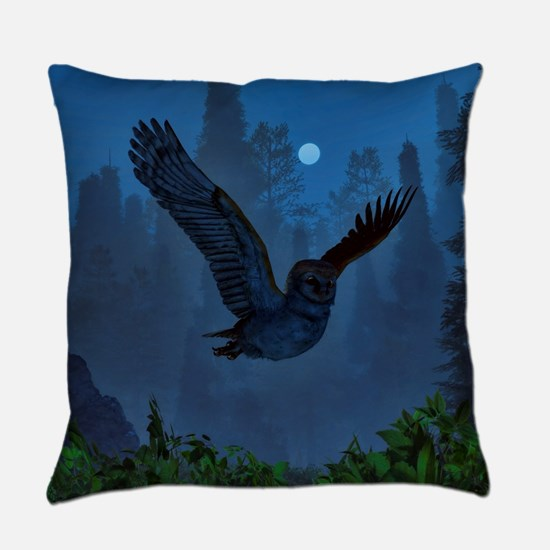 Owl In The Moonlight Shadow Everyday Pillow