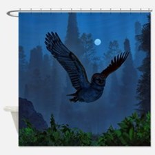 Owl In The Moonlight Shadow Shower Curtain