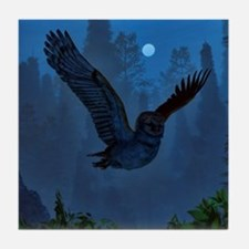 Owl In The Moonlight Shadow Tile Coaster
