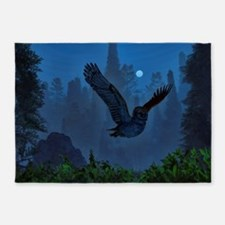 Owl In The Moonlight Shadow 5'x7'Area Rug