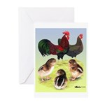 Danish Leghorn Rooster, Hen & Greeting Cards (Pk o