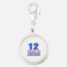 12 Years Of Awesomeness Silver Round Charm
