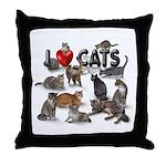 "Throw Pillow ""I love Cats"""