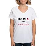 Kiss Me I'm a PISCATOLOGIST Women's V-Neck T-Shirt