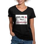Kiss Me I'm a PISCATOLOGIST Women's V-Neck Dark T-