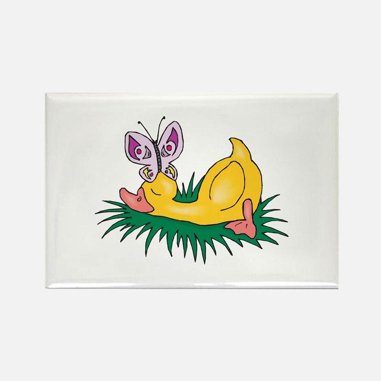 Cute Sleeping Duck Rectangle Magnet