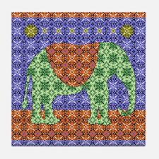 Colorful Elephant Tile Coaster