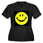 Happy Face Women's Plus Size V-Neck Dark T-Shirt