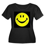 Happy Face Women's Plus Size Scoop Neck Dark T-Shi