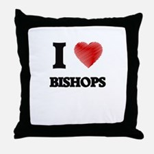 I Love BISHOPS Throw Pillow