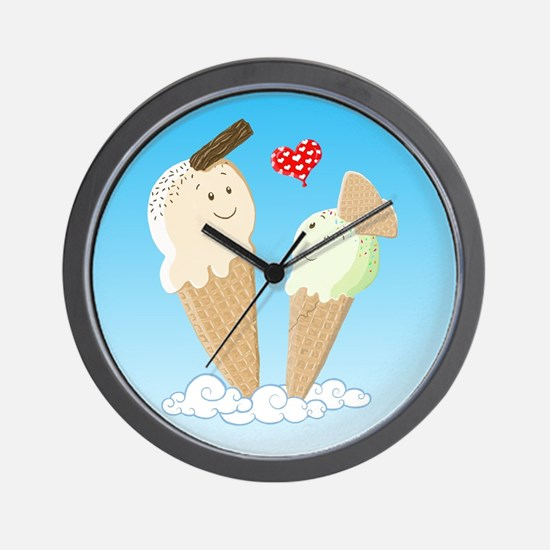 Ice Creams In Love Wall Clock