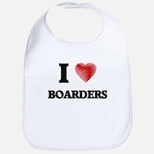 I Love BOARDERS Bib
