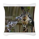 Giraffe Baby Mama Kiss Woven Throw Pillow