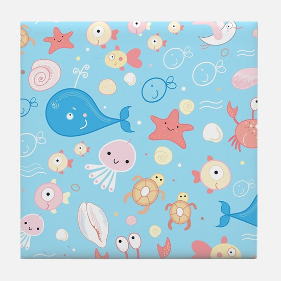 Cute Sea Life Tile Coaster
