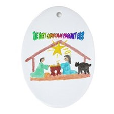 Christmas Pageant Manger Oval Ornament