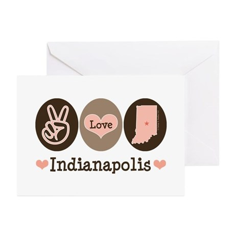 Peace Love Indianapolis Greeting Cards (Pk of 10)
