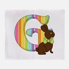 Letter G Chocolate Easter Bunny Throw Blanket