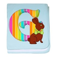 Letter G Chocolate Easter Bunny baby blanket