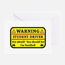 Warning Student Driver Greeting Cards