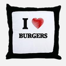 I Love BURGERS Throw Pillow