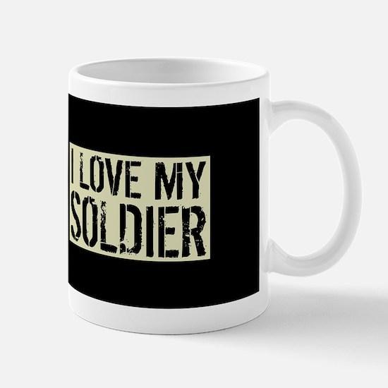 U.S. Army: I Love My Soldier (Black Fla Mug