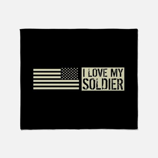 U.S. Army: I Love My Soldier (Black Throw Blanket
