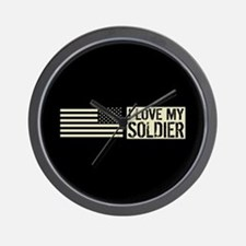 U.S. Army: I Love My Soldier (Black Fla Wall Clock
