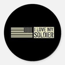 U.S. Army: I Love My Soldier (Bla Round Car Magnet