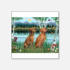 "Cute Vizsla lover Square Sticker 3"" x 3"""