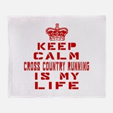 Keep Calm and Cross Country Running Throw Blanket