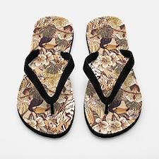 Jungle Wildlife Tan Flip Flops