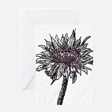 Cute Black and white sunflowers Greeting Card