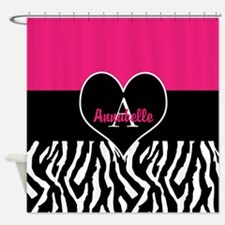 Pink Zebra Heart Monogram Personalized Shower Curt