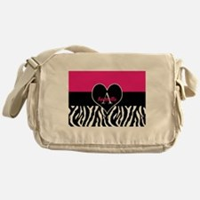 Pink Zebra Heart Monogram Personalized Messenger B