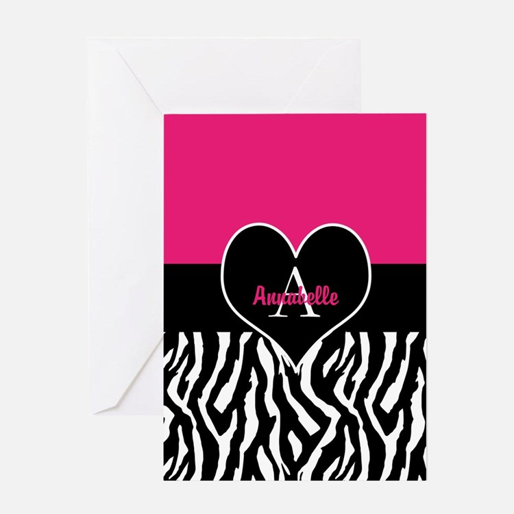 Pink Zebra Heart Monogram Greeting Cards