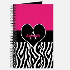 Pink Zebra Heart Monogram Personalized Journal