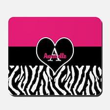 Pink Zebra Heart Monogram Personalized Mousepad