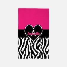 Pink Zebra Heart Monogram Personalized Area Rug