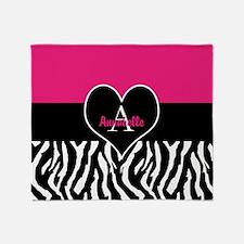 Pink Zebra Heart Monogram Throw Blanket