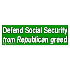 Defend Social Security Bumper Bumper Sticker