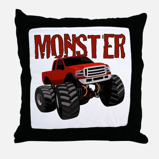 Cute Monster truck Throw Pillow