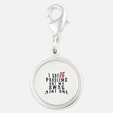 26 Swag Birthday Designs Silver Round Charm