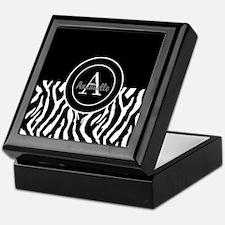 Black White Zebra Monogram Personalized Keepsake B