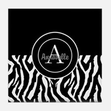 Black White Zebra Monogram Personalized Tile Coast