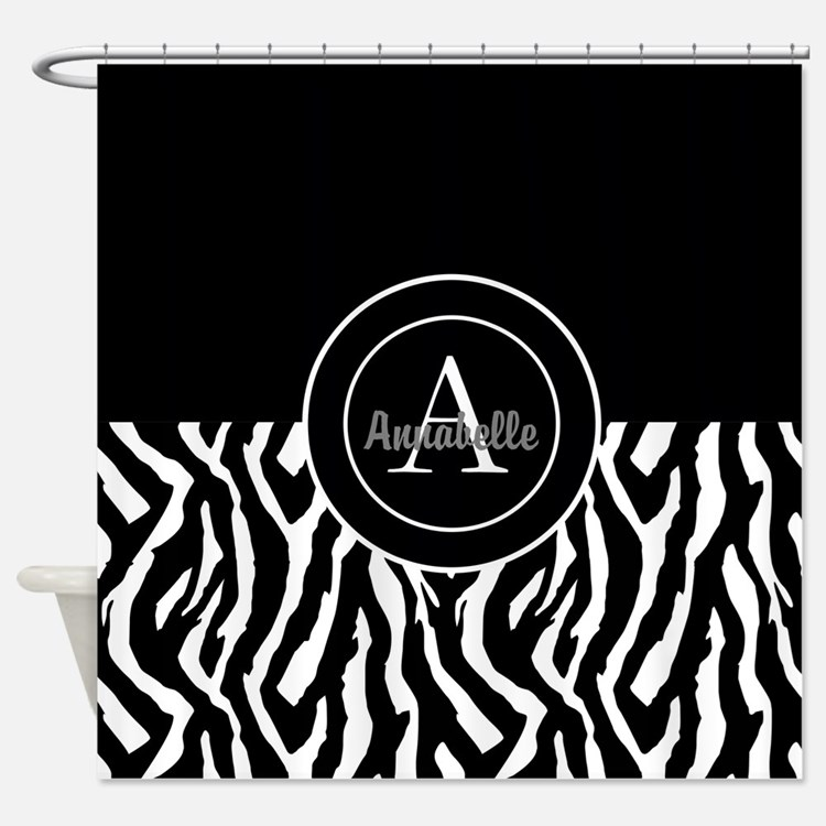 Black White Zebra Monogram Personalized Shower Cur