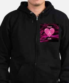 Breast Cancer Awareness Ribbon Zip Hoodie