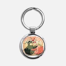 Cute Wedding Round Keychain