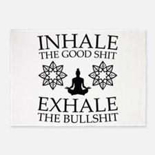 Yoga: Inhale the good shit 5'x7'Area Rug
